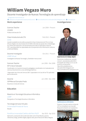 Docente Investigador Resume Sample and Template