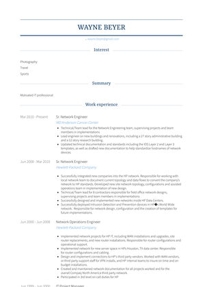 Sr. Network Engineer Resume Sample and Template