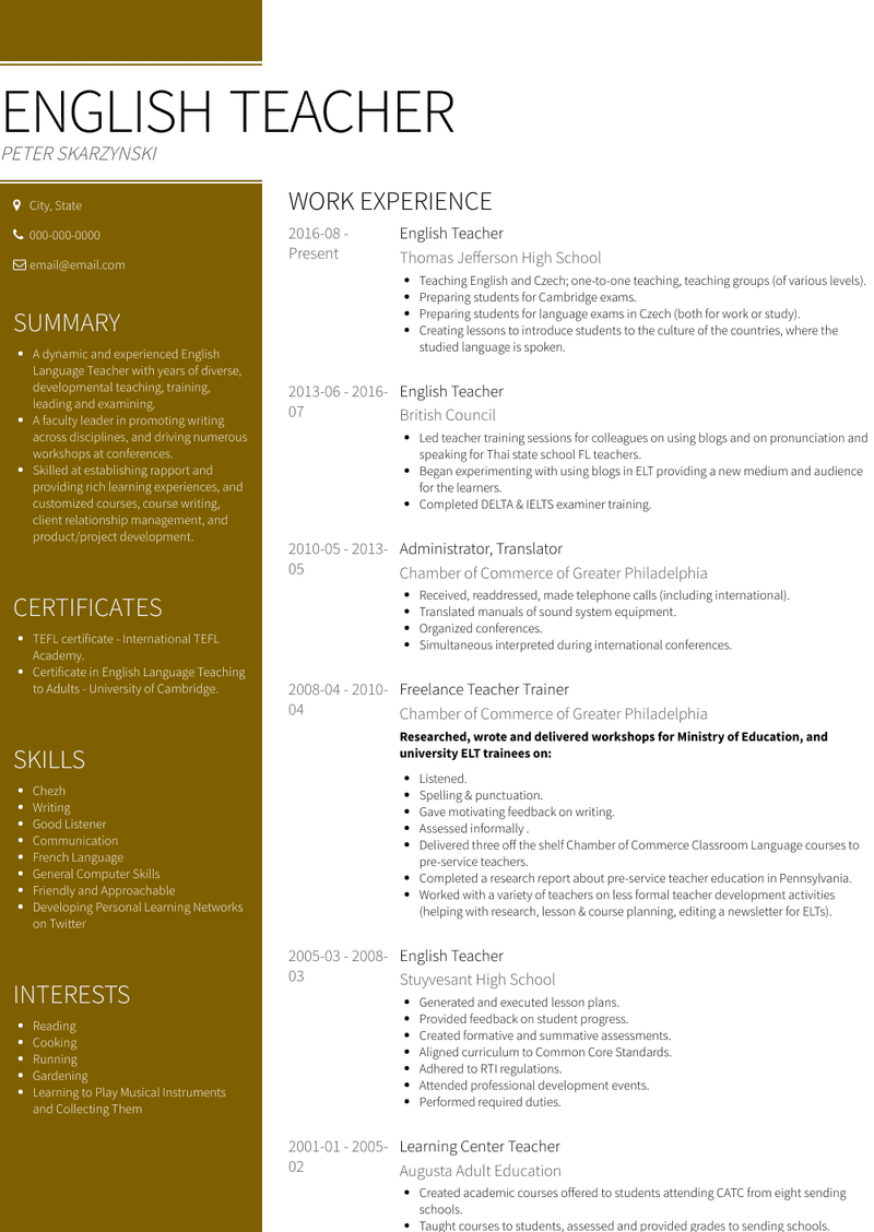 English Teacher Resume Samples And Templates Visualcv