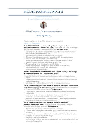 Presidente Y Gerente General De Management Company S.a. Resume Sample and Template