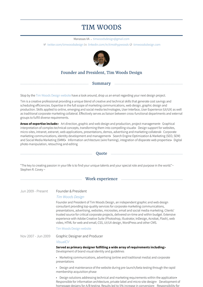 Founder & President Resume Sample and Template