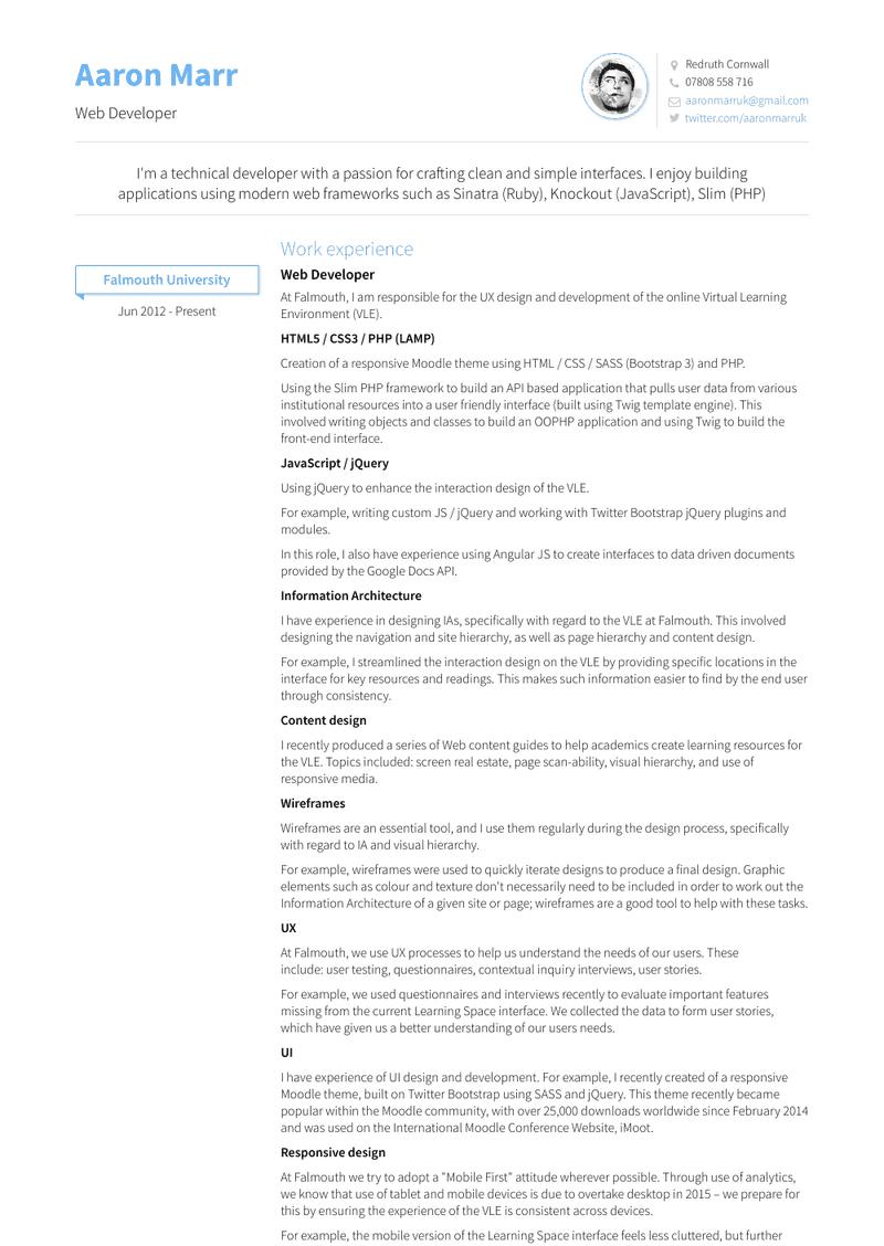 Web Developer Resume Samples And Templates Visualcv