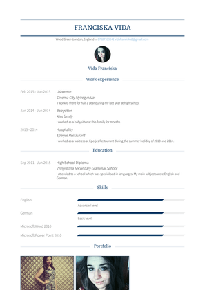 Usherette Resume Sample and Template