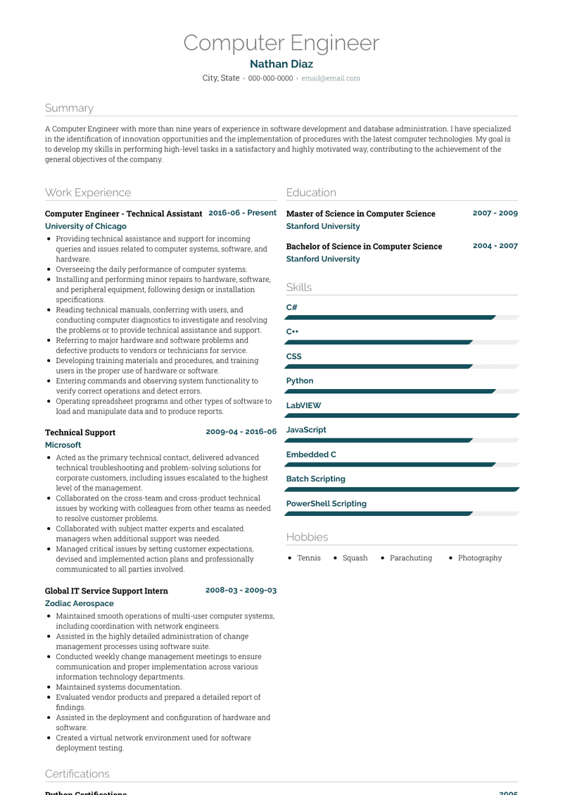 Computer Engineer Resume Samples And Templates Visualcv
