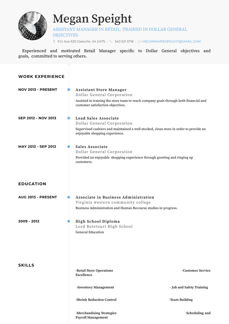 Assistant Store Manager Resume Samples 1 Resource For Templates