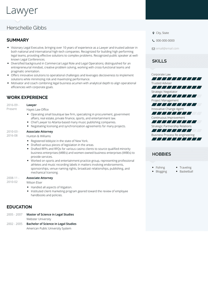 lawyer  resume samples and templates  visualcv