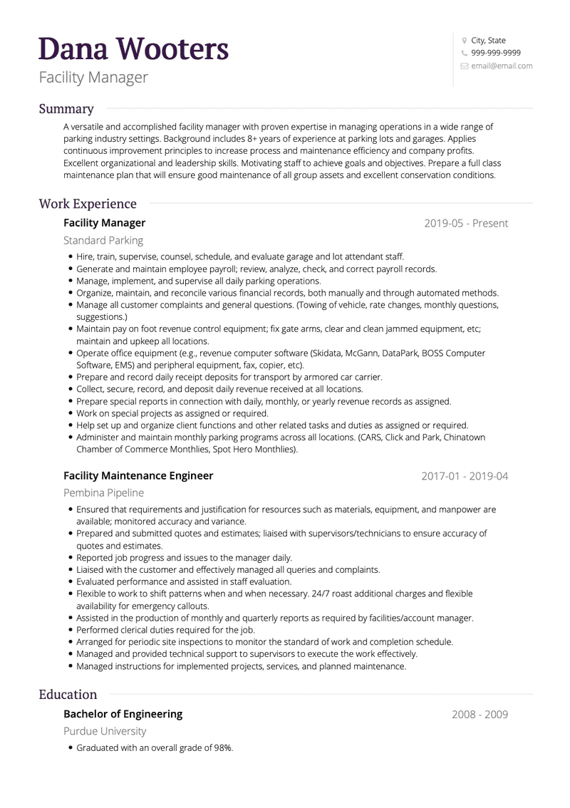 Facility Manager CV Example and Template