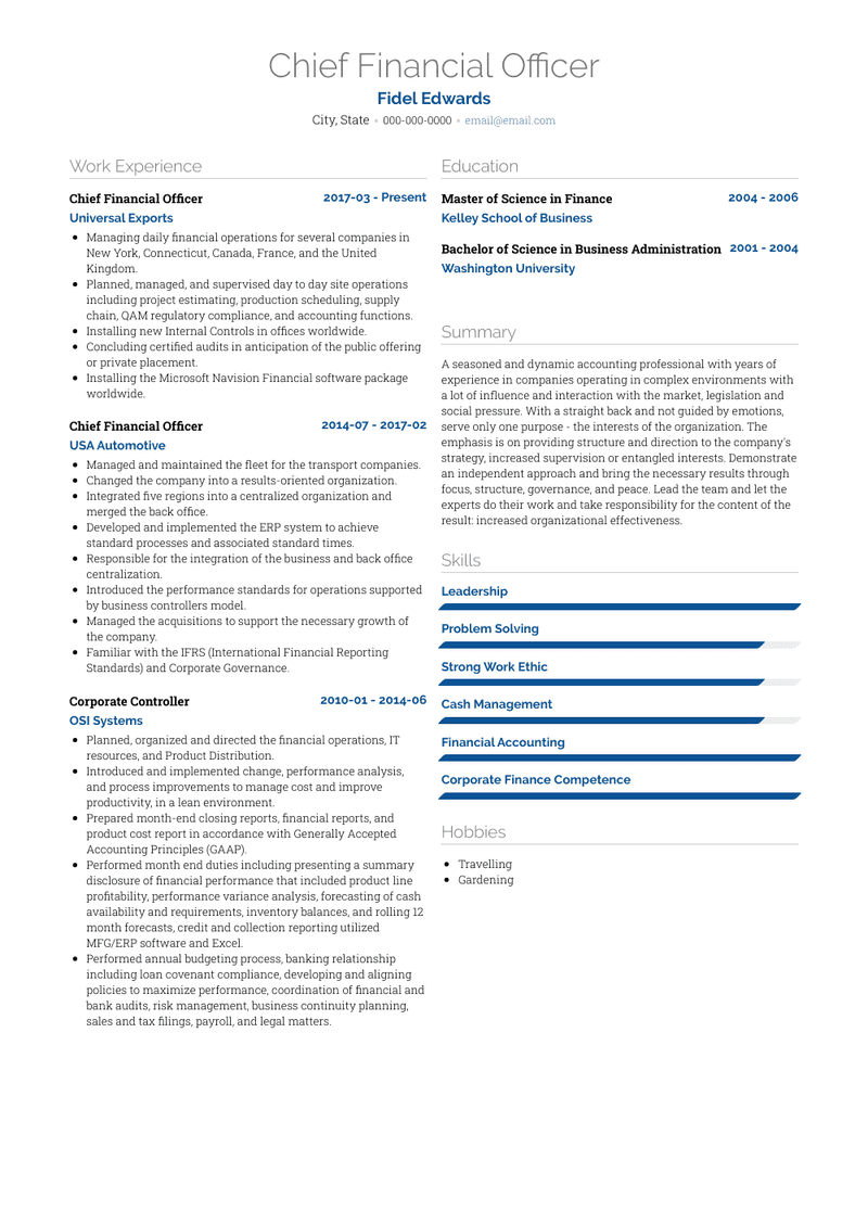Cfo Resume Samples And Templates Visualcv