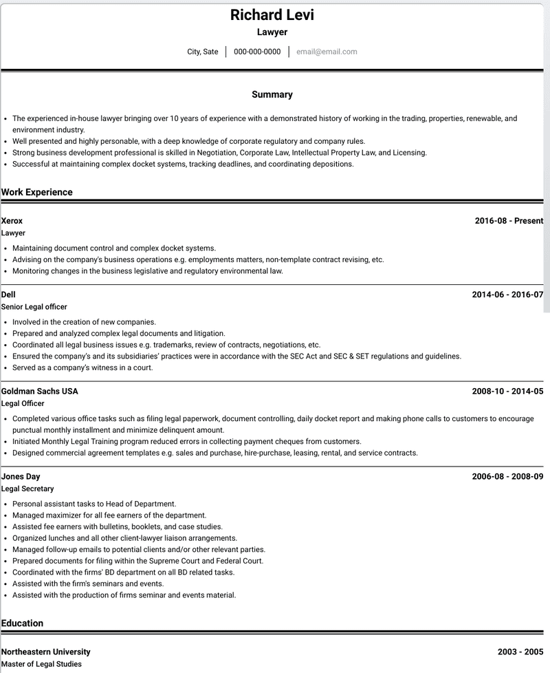 Lawyer CV Example and Template