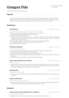 Cnc Machinist  Resume Sample and Template