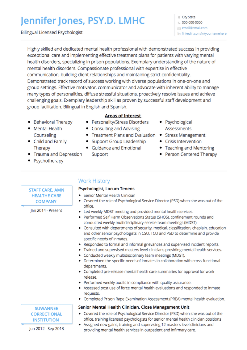 Psychologist CV Example and Template