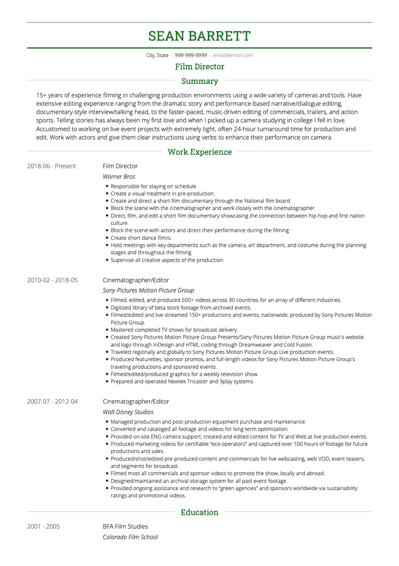 Film CV Example and Template