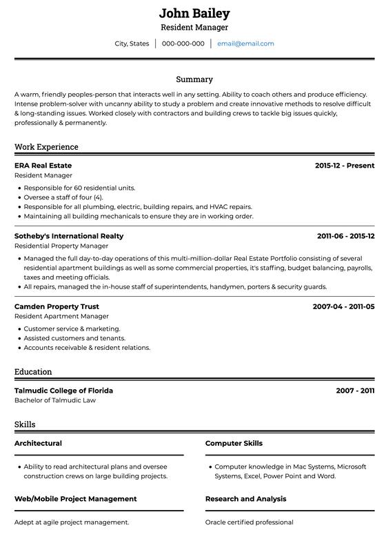 Simple Resume Template Ats Visualcv