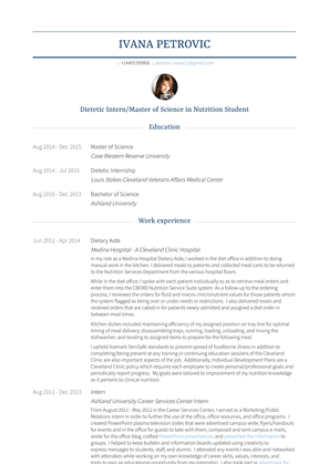 Dietary Aide Resume Sample and Template