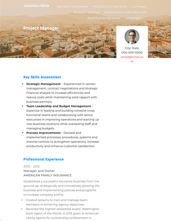 Online Resume Template and Example - Lingo by VisualCV