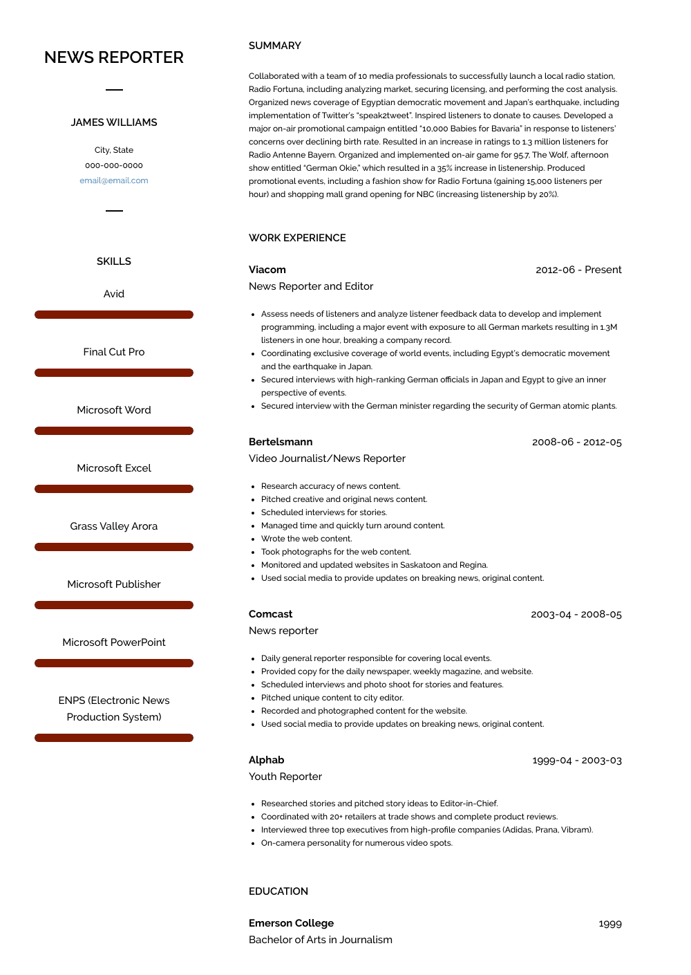 news reporter  resume samples and templates  visualcv