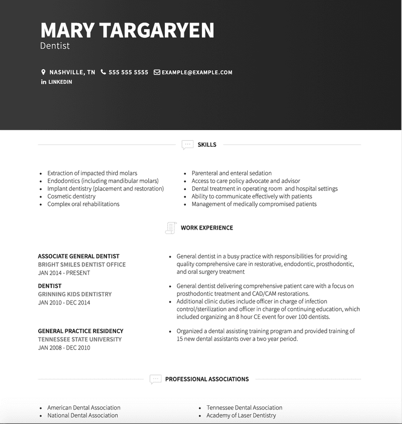 Dentist CV Example and Template