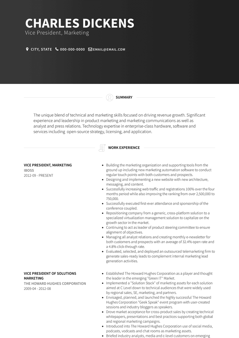 Vp Marketing Resume Samples And Templates Visualcv