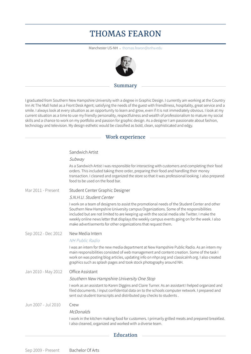 Sandwich Artist Resume Sample and Template