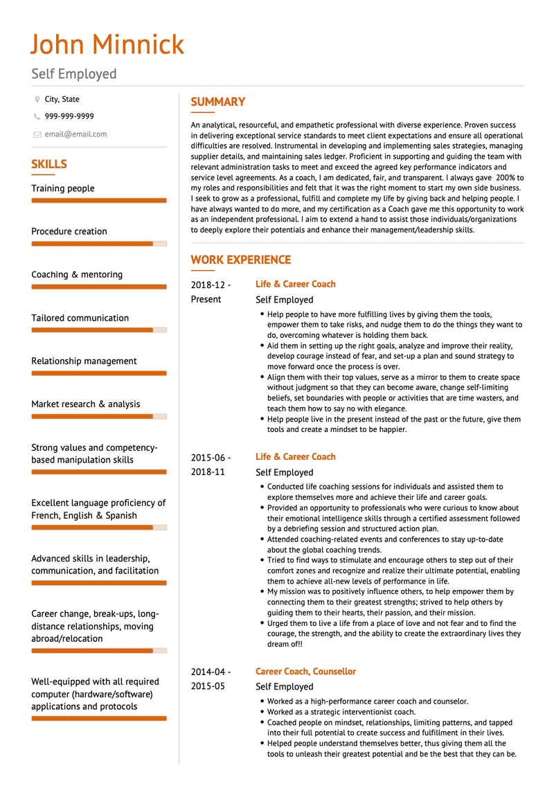 Self employed CV Example and Template