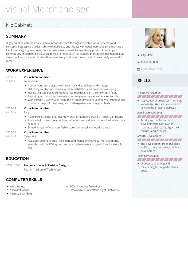 Visual Merchandiser Resume Samples And Templates Visualcv