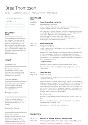 Guest Service Representative Resume Sample and Template