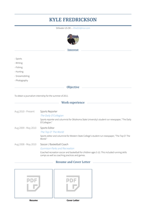 Sports Reporter Resume Sample and Template