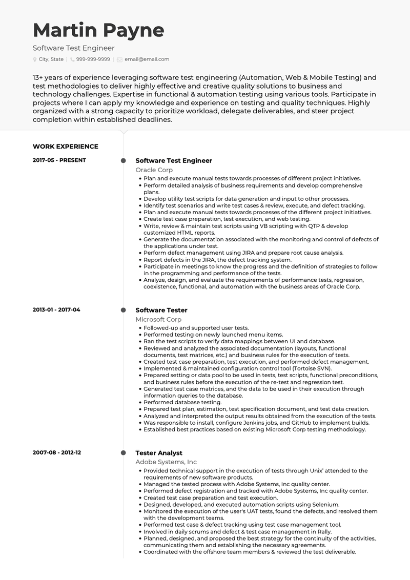 Software Tester CV Example and Template