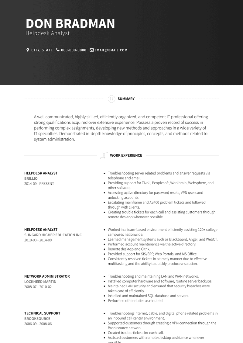 Help Desk Analyst Resume Samples And Templates Visualcv