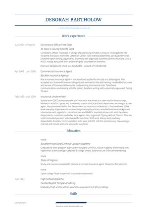 Corrections Officer First Class Resume Sample and Template