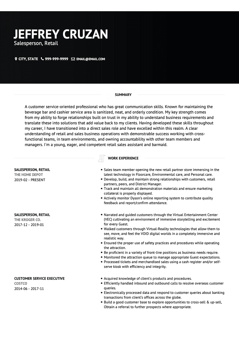 Salesperson CV Example and Template