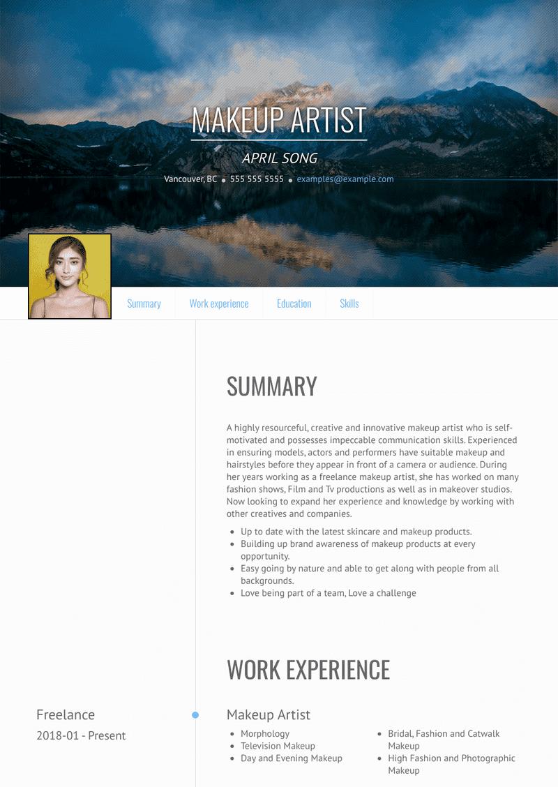 Makeup Artist Resume Samples And Templates Visualcv