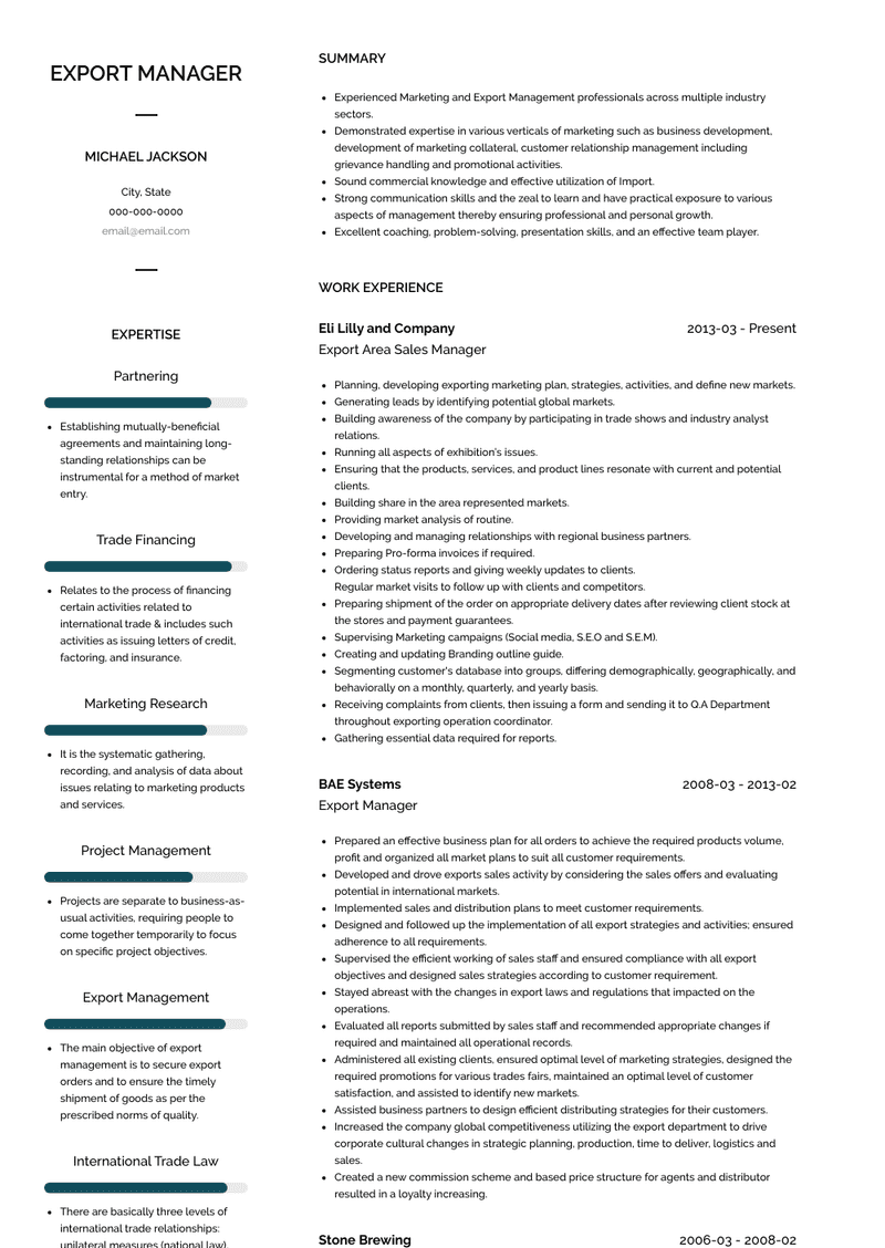 Export Manager Resume Samples And Templates Visualcv