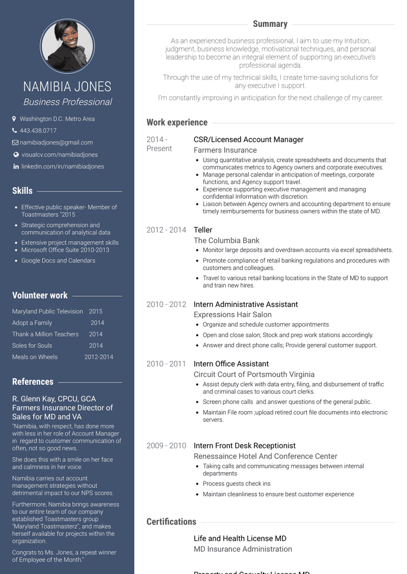 Csr/licensed Account Manager Resume Sample and Template