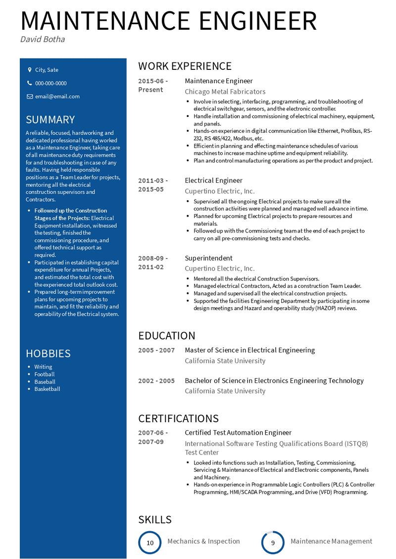 maintenance engineer  resume samples and templates  visualcv