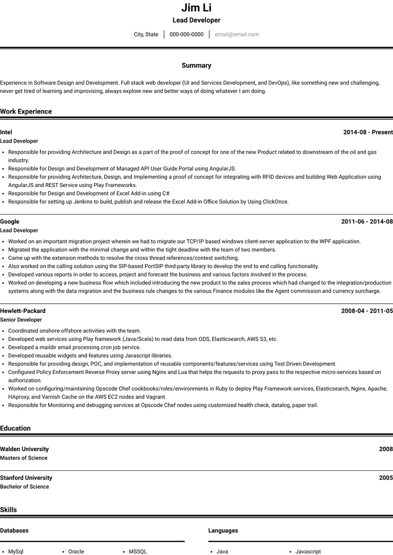 Lead Developer Resume Samples And Templates Visualcv