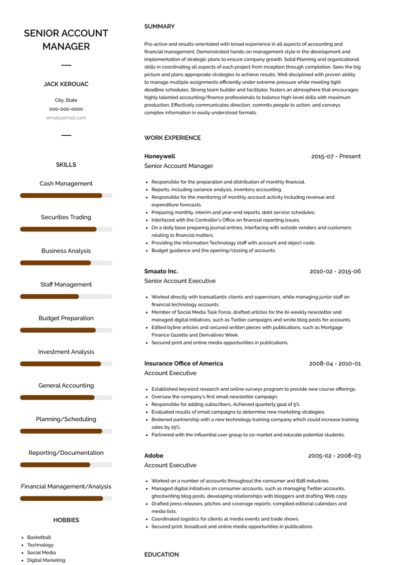 Senior Account Manager Resume Samples And Templates Visualcv
