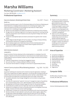 Marketing CV Example and Template