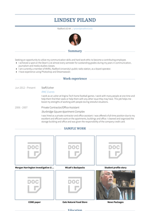 Staff/usher Resume Sample and Template