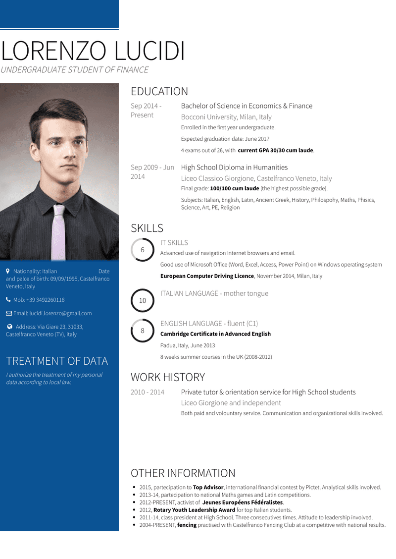 High School Resume Samples And Templates Visualcv