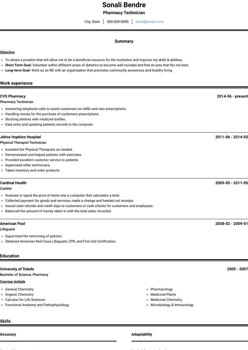 Pharmacy Technician Resume Samples And Templates Visualcv