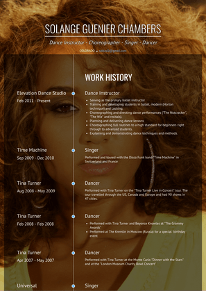 Dance Instructor Resume Sample and Template