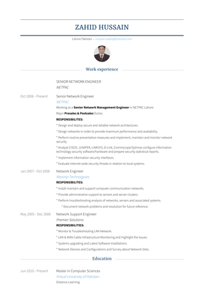 Senior Network Engineer Resume Sample and Template