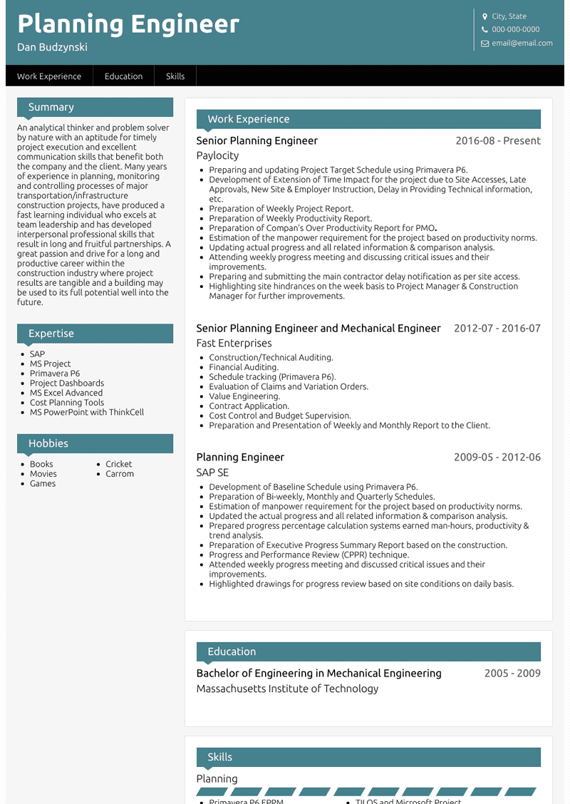 Planning Engineer Resume Samples And Templates Visualcv