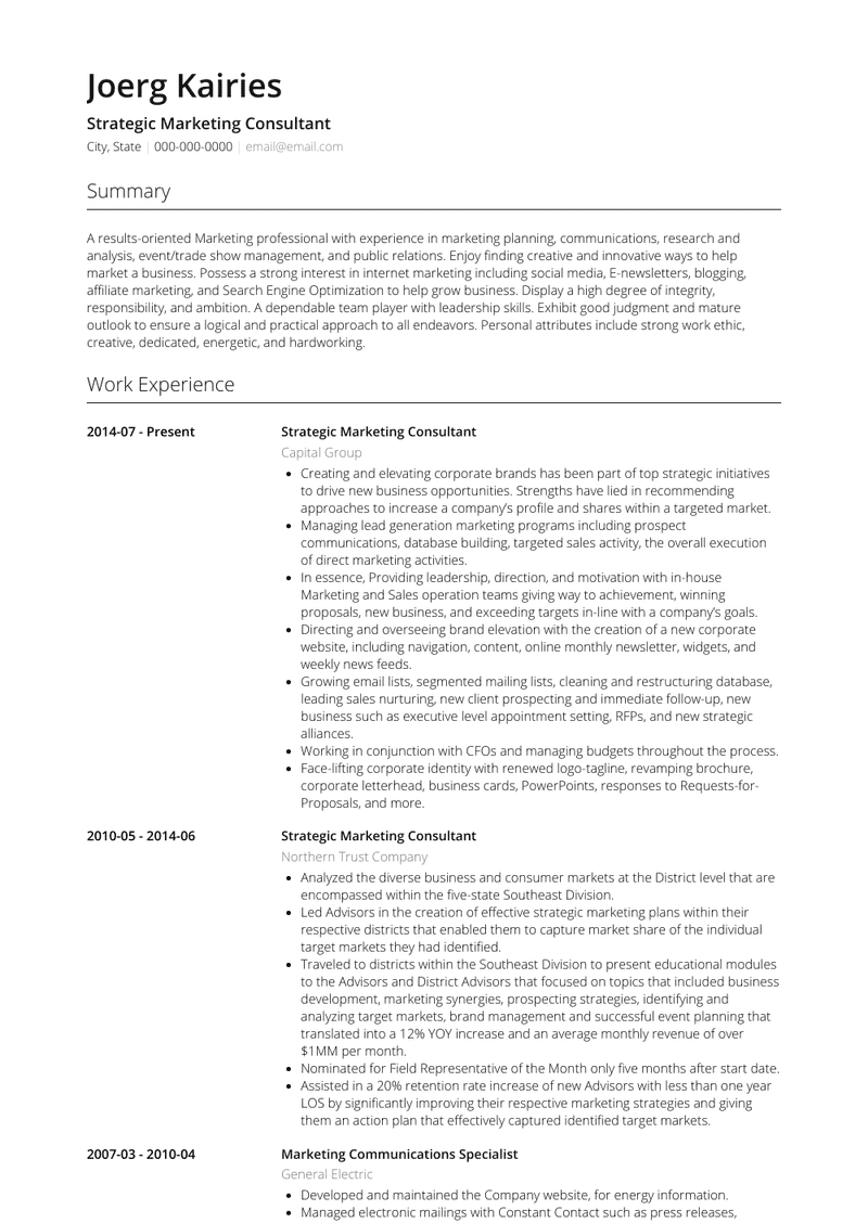 strategic marketing consultant  resume samples and