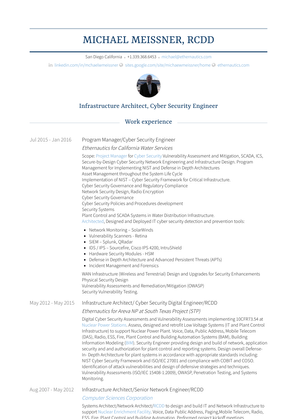 Infrastructure Architect/senior Network Engineer/rcdd Resume Sample and Template