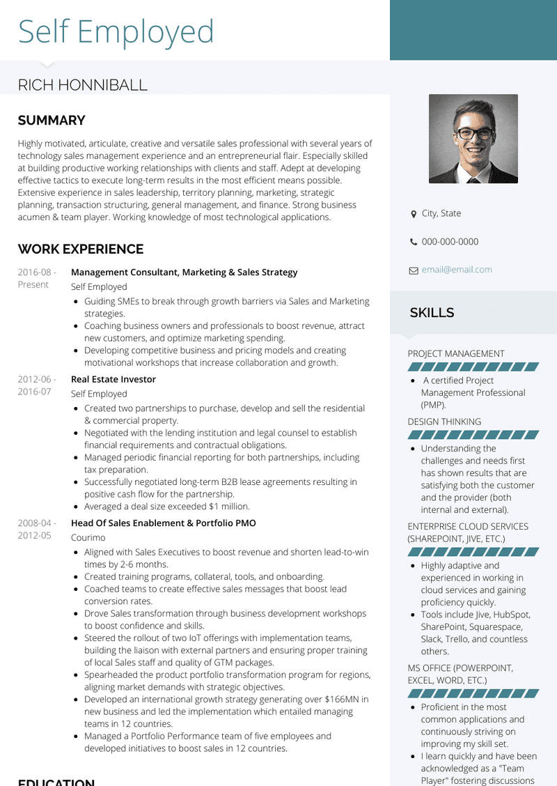 Self Employed Resume Samples And Templates Visualcv
