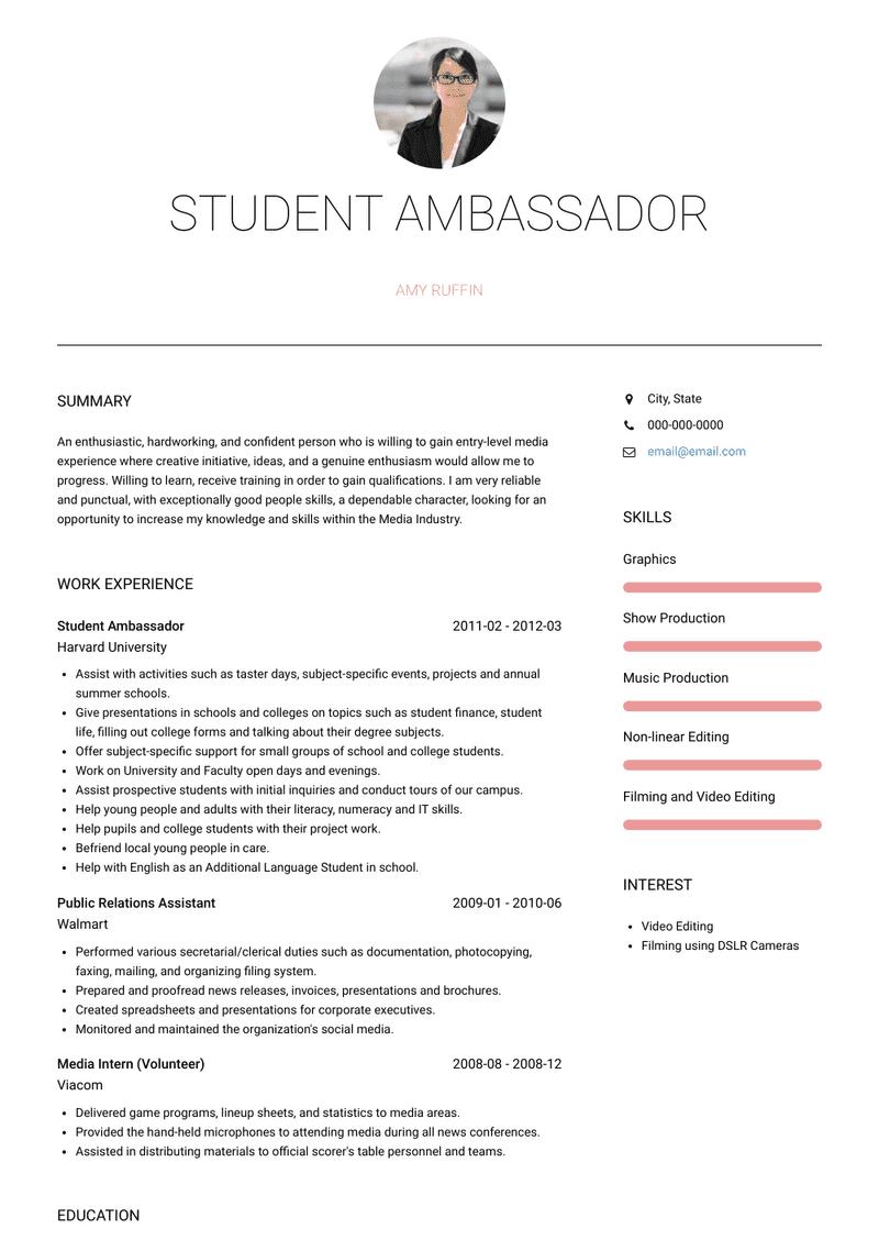 Student Ambassador Resume Samples And Templates Visualcv