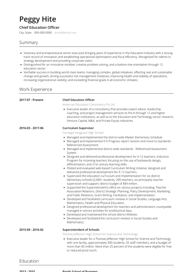 Education Resume Samples And Templates Visualcv