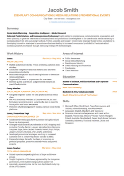 Public Relations CV Example and Template